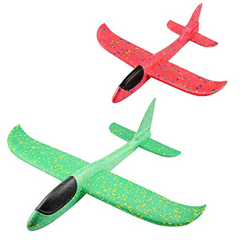 Feelairy 2 Stücke Kinder Schaum Flugzeug 13,5 Zoll Segelflugzeug, Styroporflieger Modell, Leichtflugzeug Hand Werfen Outdoor Sport Spiel Spielzeug, Flugzeuge Geschenke für Jungen Mädchen