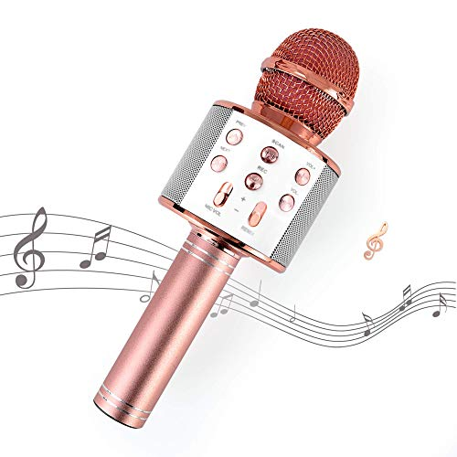Kissarex Wireless Microphone Karaoke Bluetooth : Rose Gold Pop Handheld Real Tosing Singing Portable Speaker Voice Little Fun Changer Solo Car Girls Mic