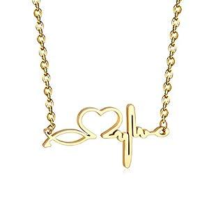 SHEGRACE Halskette Für Frauen, Herzschlag Halskette, EKG Halskette, Edelstahlkette, 500mm, Verstellbar