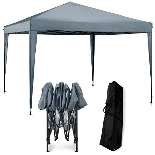 VonHaus Pop Up Gazebo 3x3m with no sides – Outdoor Garden Marquee with Water-resistant Cover and Telescopic Legs - Canopy, Frame, Pegs & Storage Bag - Easy Pop Up Assembly - Grey Colour
