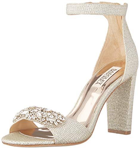 Badgley Mischka Women's EDALINE Heeled Sandal, Platino Fabric, 9 M US