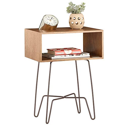 mDesign Mesita auxiliar de madera y metal pequeña – Mesa auxiliar vintage...