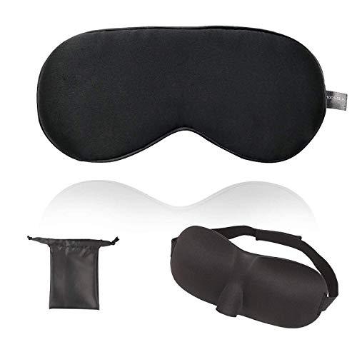 BESTUR アイマスク【2枚セット】シルクアイマスク/3D立体型アイマスク各1枚 安眠 遮光 柔らかい シルク質感...
