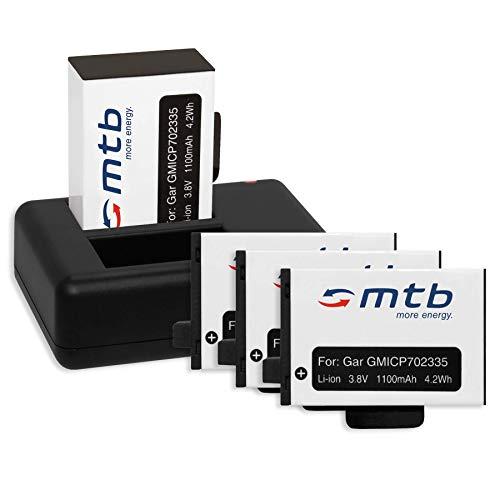 4 Baterías + Cargador doble (USB) para Garmin Virb 360 Actioncam [1100 mAh | 3.8V | Li-Ion] - contiene cable micro USB