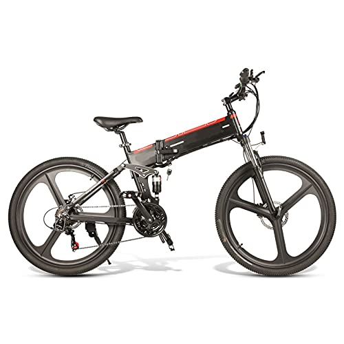 FBKPHSS 26' Bicicleta eléctrica, Plegable Bicicleta Electrica con Batería de Litio Extraíble 48V 500W Bicicleta Eléctrica de Montaña para Ciclismo al Aire Libre,Negro,Standard 1