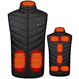 GYAM Chaleco Calefactable, Chaleco Calefactor Eléctrico USB, Chaqueta Calefactable con 3 Niveles De Calentamiento Y Lavable Y 9 Zonas De Calentamiento Adecuado para Hombres Y Mujeres, Negro,XL