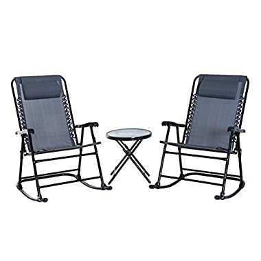 Outsunny 3 Piece Outdoor Rocking Chair Patio Table Seating Set Folding - Grey
