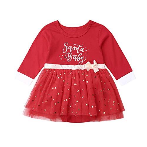 Carolilly Vestito Natale Bambina Abito Natalizio Neonata a Manica Lunga in Tulle Rosso Vestito Principessa Invernale