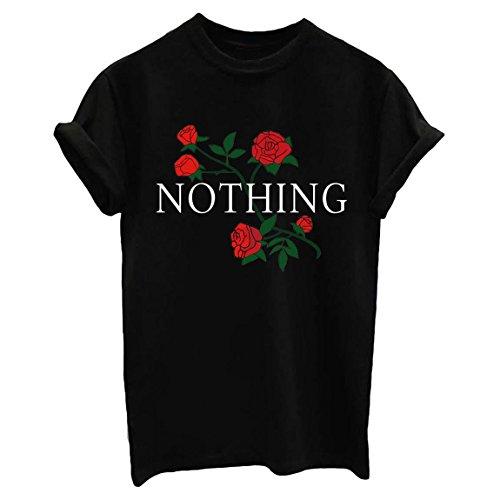 BLACKMYTH Women Summer Nothing Rose Print Short Sleeve Top Tee Graphic Cute T-Shirt Black Medium