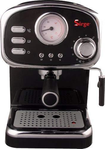 Sirge CREMILDA Traditionelle Espressomaschine, Siebträgermaschine, Infodisplay Thermometer, Milchaufschäumer, ITALY Pump 15 bar - 1000W - 3 Filter [Kaffeepads + Gemahlener Kaffee(1 Tasse und 2 Tassen)