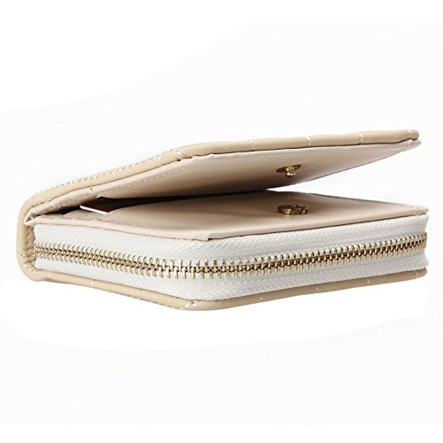 Lorna Women Mini Short Wallets PU Leather Female Plaid Purses Nubuck Card Holder Wallet Zipper Wallet With Coin Purse (White) (White)