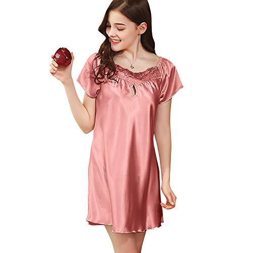 DREAM SLIM Delicately Sleepshirt Nightdress Sleepwear Nightgowns for Women Comfy Satin (M, Pink)