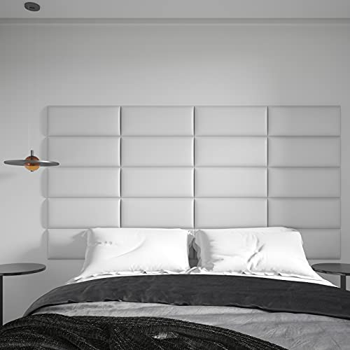 """Art3d Peel and Stick Headboard for Twin, Full and Queen in White, Pack of 6 Panels Sized 9.84"""" x 23.62"""", Soundproof Wall Panels 3D, Upholstered Wall Panel"""
