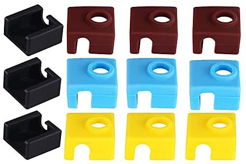 iMetrx 12 pezzi di calzini in silicone per stampante 3D, blocco riscaldante, copertura in silicone MK7/MK8/MK9, per Creality CR-10,10S, S4, S5, Ender 3, Ender 3 Pro, Ender 5/5 Pro, Anet A8