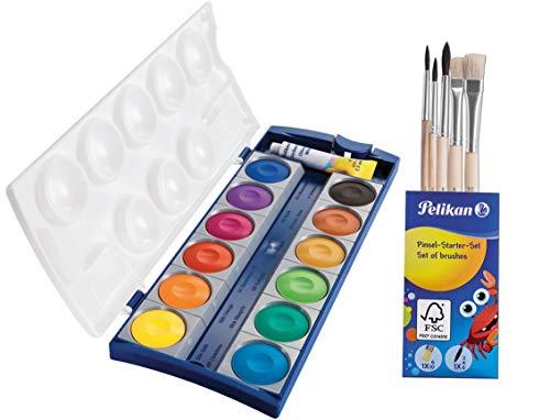 Pelikan 720250 Deckfarbkasten K12, 12 Farben + 1 Tube Deckweiß, Schul-Standard + Pinselsel (Farbkasten+Pinsel)