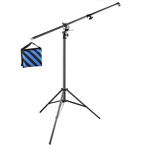 Neewer Galgenstativ Lampenstativ 2 in 1 Licht Stativ mit Auslegerarm und blauem Sandsack zur Unterstützung von Softbox Studio Blitz für Video Porträt Fotografie (leerer Sandsack)