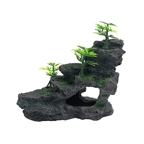 M2cbridge Aquarium Mountain View Stone Resin Moss Tree Rockery Hideout Stone (Small)