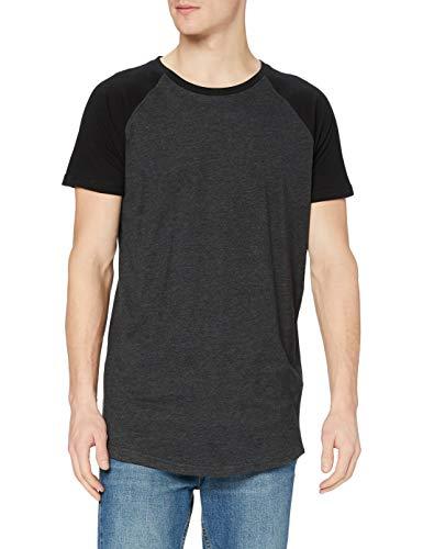 Urban Classics TB966 Herren Regular Fit T-Shirt Shaped Raglan Long Tee, Mehrfarbig (Cha/Blk 314), Large