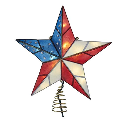 Kurt Adler Lighted American Flag Star Christmas Tree Topper