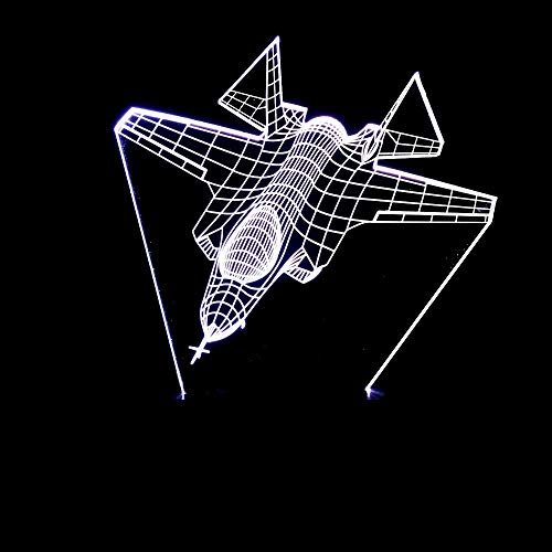 LG Snow lámparas Luchador Aviones Estereoscópica 3D Atmósfera Lámpara LED Gradientes De Color Táctil USB Remoto De Escritorio Luz De La Noche De Noche Con Imaginación Regalos For Las Fiestas De Navida