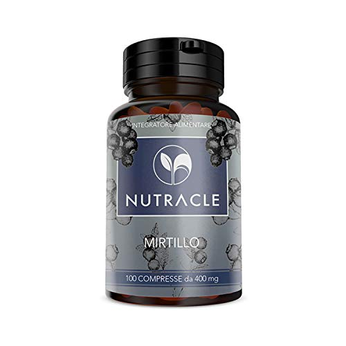 NUTRACLE Mirtillo nero 100 compresse da 400mg | Aiuta Microcircolazione e Benessere della Vista | Ricco di Vitamine e Nutrienti