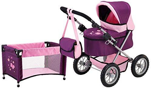 Bayer Design 1305701 - Puppenwagen Trendy, pflaume Set mit Bett