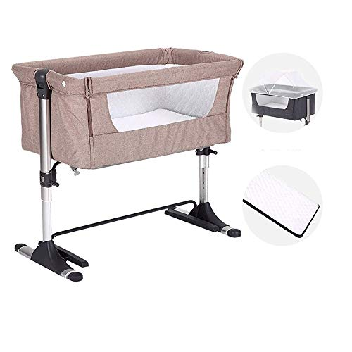 Bed kant wieg for de baby - Sleeper Inclusief matras, blad, en urine Pad, in hoogte verstelbaar 4 Files kant met een Snap-on spanband (Color : Brown)
