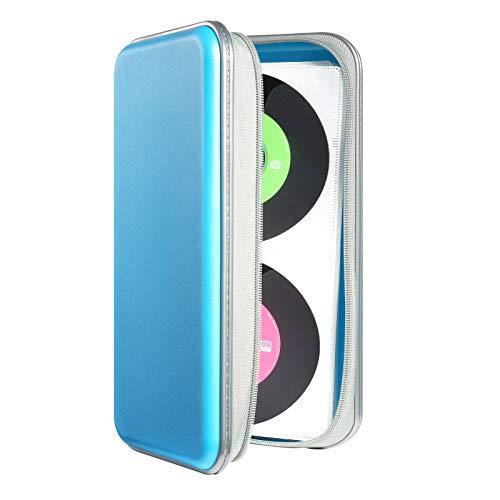 Photo of DVSICK 96 Capacity CD Case,Portable DVD Hard Plastic Case Holder CD Organizer Wallet Protective DVD Storage (Skyblue)
