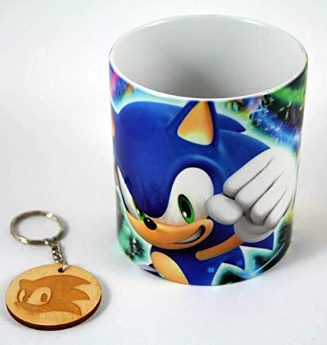 TusPersonalizables.com Tasse und Schlüsselanhänger Sonic (Farbe)