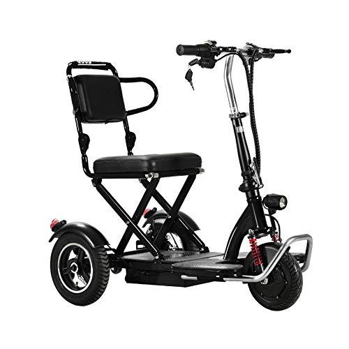 VIKE Mini-Klapp-Elektro-Dreirad, Elektro-Dreirad für ältere Menschen, Elektro-Dreirad für Erwachsene, Elektro-Rollstuhl für Behinderte, Dreirad-Dreirad für Behinderte (schwarz, 55km)