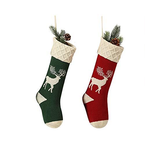 Qingxian 2er Nikolausstiefel zum Befüllen Und Aufhängen Weihnachtsstrümpfe Socken Kamin Christmas Stockings Personalisiert Nikolausstrumpf Weihnachtsdeko