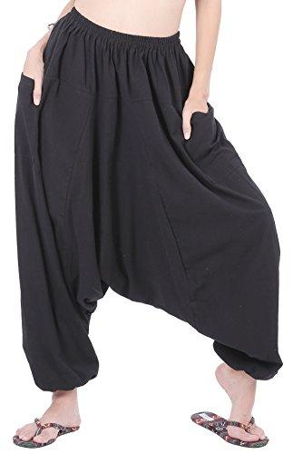 CandyHusky Men Women 100% Cotton Loose Baggy Boho Gypsy Aladdin Yoga Harem Pants (Black)