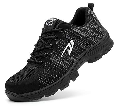 Ucayali Zapatillas de Seguridad Hombre Zapatos de Trabajo con Punta de Acero Calzado Protección Laboral Deportivos - Ultraligeras Transpirables y Cómodas, Negro 44