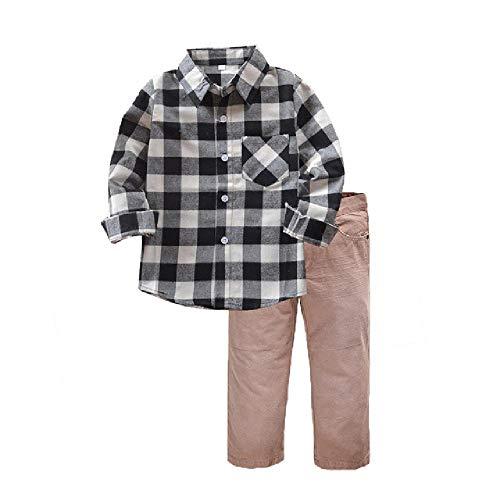 Winter Jongen Kleding Nieuwe Peuter Kleding Sets Kids Katoen Plaid Shirt Broek Kostuum Man Jongen School