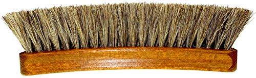 DELARA Sehr große, hochwertige Polierbürste mit 100% Rosshaar, Farbe Silbergrau, geschweifter Griff aus lackiertem Holz - Made in Germany