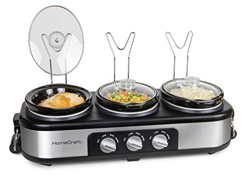 HomeCraft HCTSC15SS Stainless Steel 3-Station 1.5-Quart Oval Slow Cooker Buffet, With Lid & Spoon Rest, Adjustable Heat Control, Perfect for Parties, Holidays, Families