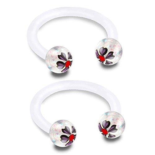 bodyjewelrytrend 2 Stück Piercing Hufeisen Kugeln 1,2 Circular Barbell bioflex durchsichtig Helix lippe lippenbändchen Nase Tragus Septum Ohr unterlippe Ohrringe BFBK - 8mm