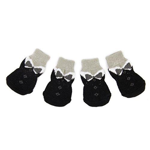 Pfotenschutz Schwarz Bowknot Pet Hunde Puppy Katz Schuhe Hausschuhe rutschfeste Socken mit Paw Prints Größe XS