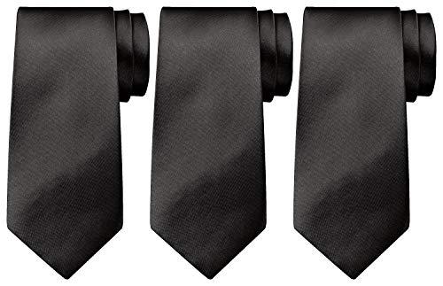 BomGuard Krawatte Schwarz 3er Set 8cm Schlips Krawatten Herrenkrawatte Krawatte Set