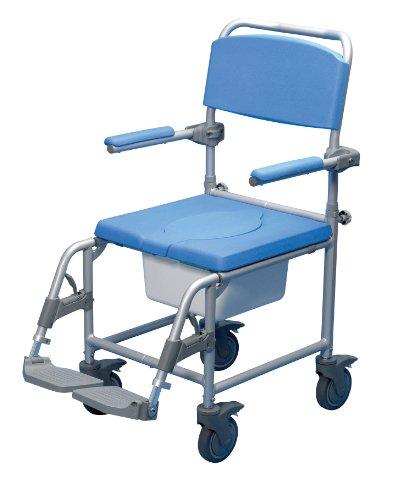 Days Deluxe Wheeled Toiletstoel, aandrijving, armleuningen, voetsteunen, gewatteerde zitting, emmer, remmen, rolstoel, Sit & Bathe, hoofdcommode, sterk
