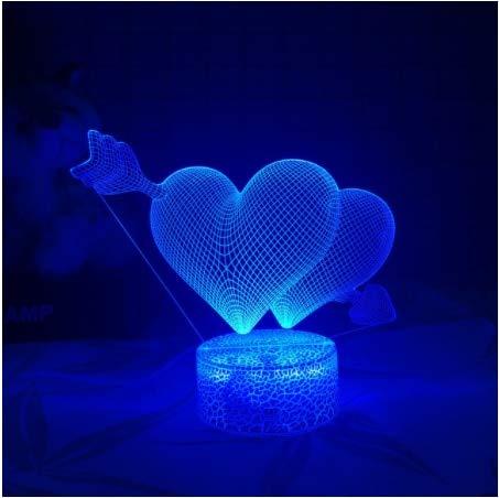 3D LED Night Light Creative Table lamp Bedside lamp Romantic Heart Bear lamp USB Children's Home 7-Color Decoration Decorative Table lamp