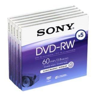 SONY DVD-RW 2.8Gb 8cm 60min Pack 5 camcorder mini dvd 2.8 gb sony dvd rw