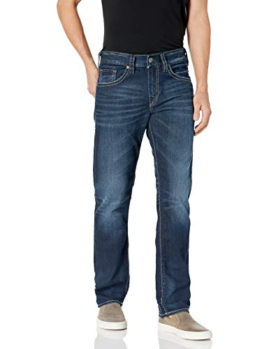 Silver Jeans Co. Men's Eddie Relaxed Fit Tapered Leg Jeans, Rinse Wash, 28W x 30L