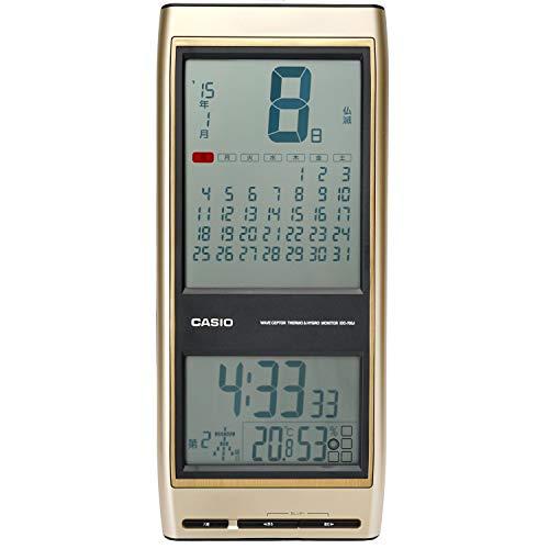 CASIO(カシオ) 掛け時計 電波 デジタル 日めくり 六曜 温度 湿度 カレンダー 表示 ゴールド IDC-700J-9JF