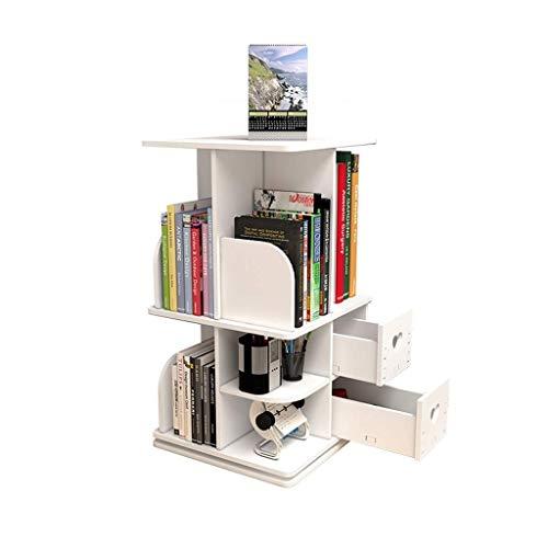 Ffshop Libera Installazione Desktop in Legno scaffali Bookshelf Libreria Girevole, 360 ° Organizzatore Rack Girevole Media Tower Librerie