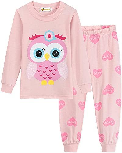 MOLYHUA Baby Eulen Schlafanzug Mädchen Lang Pyjama Nachtwäsche,01 Eule (Rosa),122