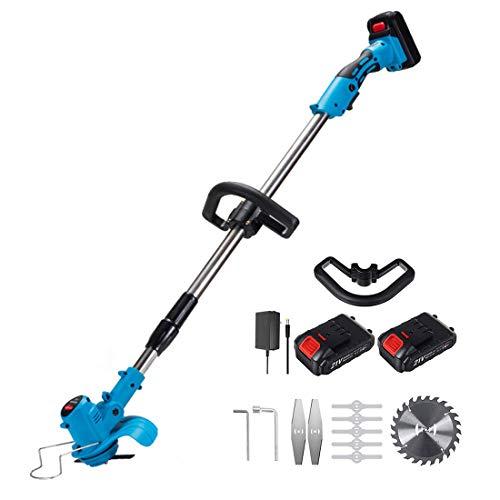 XHJL Recortador de césped inalámbrico con batería y Cargador Cortador de césped de 850W con batería y pelador de jardín Ligero y telescópico-Cabeza Ajustable de 180 °, Azul, 18000Rpm