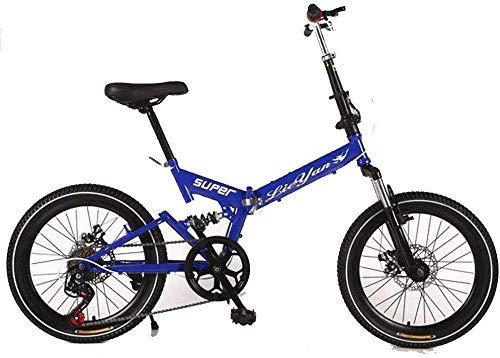 BRISEZZ 20 Pollici Folding Bike - Adulti Folding Bike - Folding Bike for Uomini e Donne Gli Studenti Damping Freni a Disco con Red Gear (Colore: Rosso) HRTT (Color : Blue)