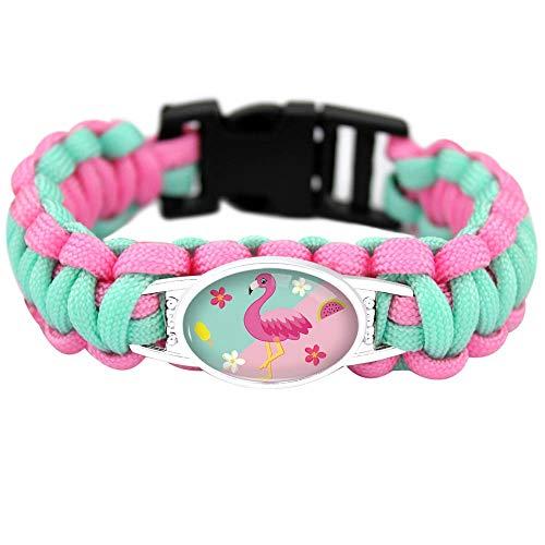 The Electric Mammoth Cute Flamingo Paracord Bracelets Girls FlamingosFashion Jewelry Accessory (Pink w/Teal)