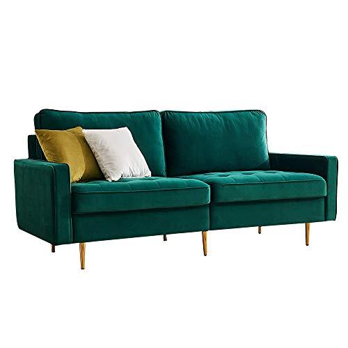 Sofá moderno de tela de terciopelo, sofá para salón, superficie de terciopelo, para apartamento, espacio pequeño, 180 cm, esmeralda